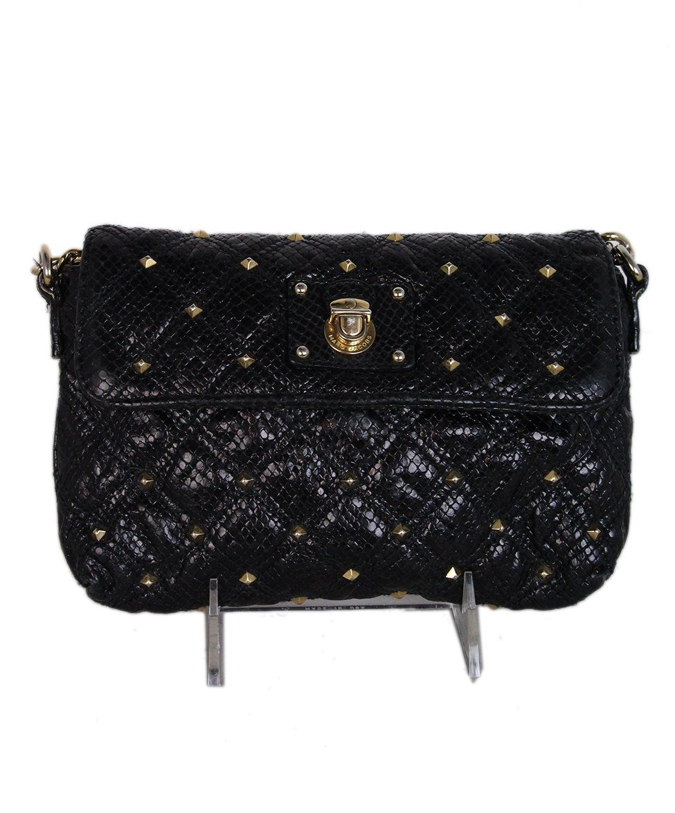 Marc Jacobs Black Leather Gold Studs Crossbody 1