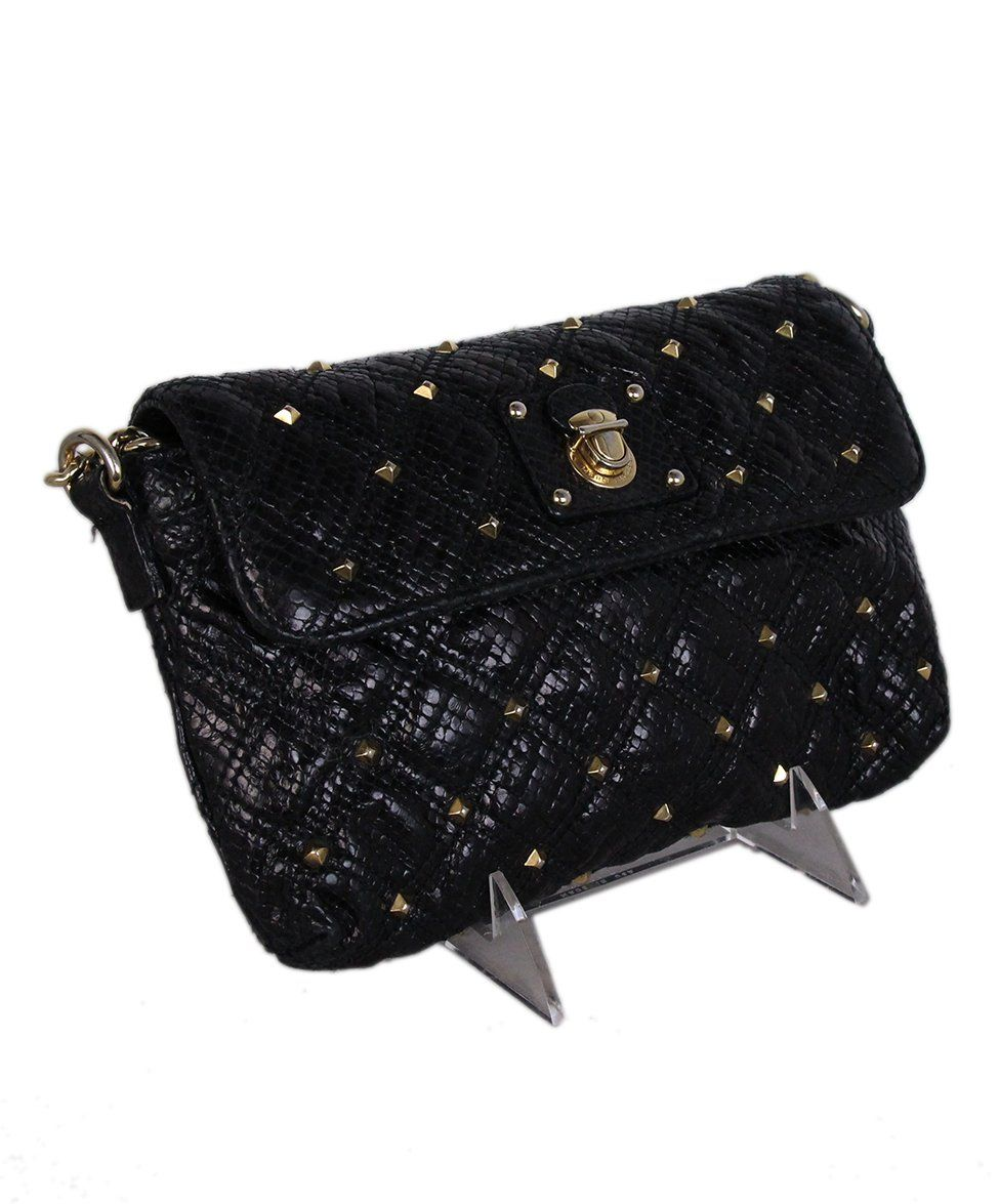 Marc Jacobs Black Leather Gold Studs Crossbody 2