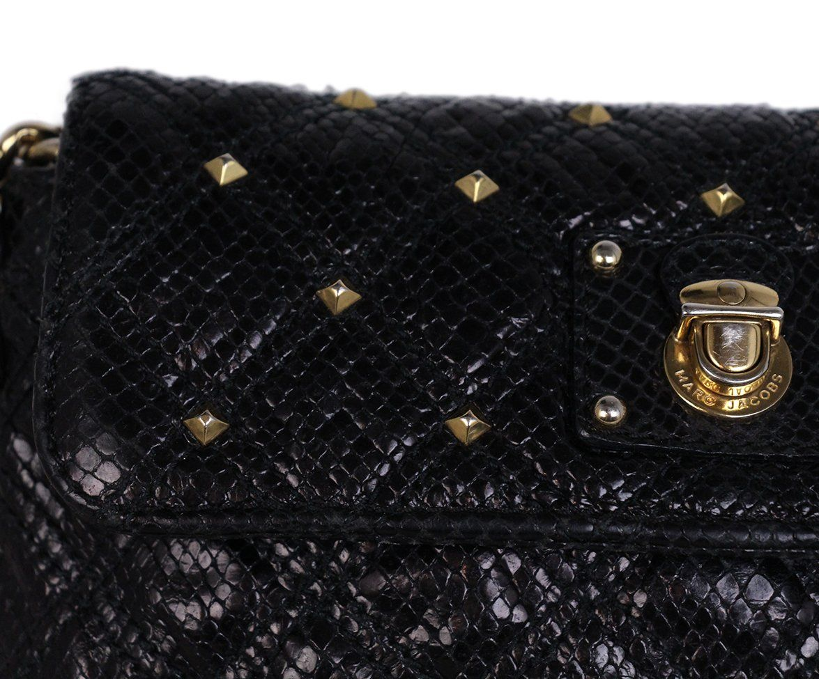 Marc Jacobs Black Leather Gold Studs Crossbody 7