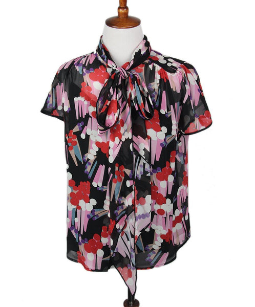Marc Jacobs Black Pink Red Floral Blouse 1