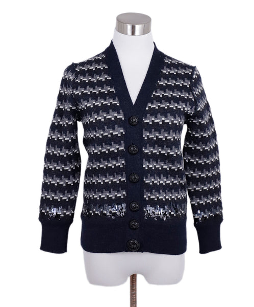 Marc Jacobs Blue Navy White Grey Wool Sequins Cardigan Sweater 1