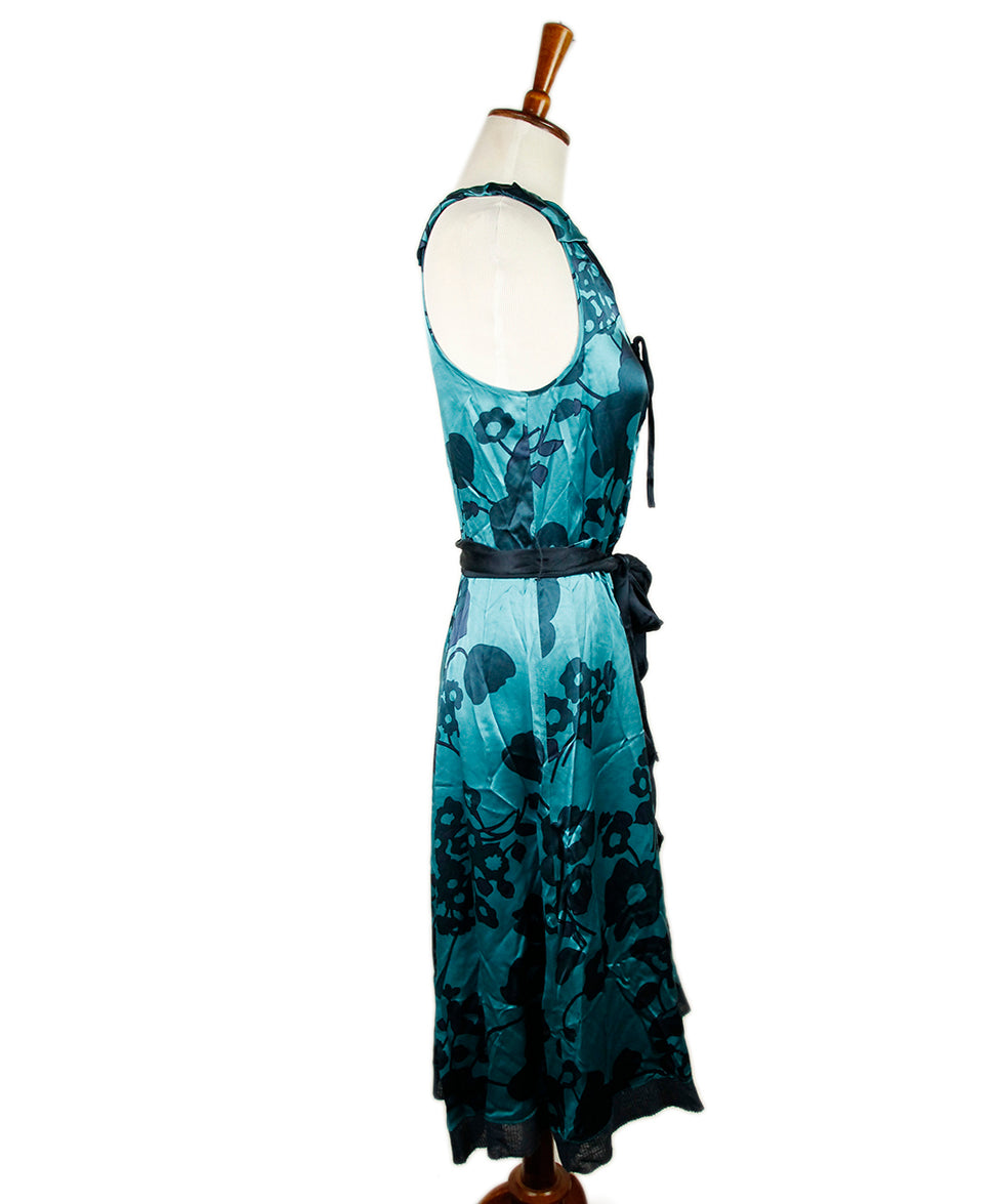 Marc Jacobs Blue Turqouise Silk Floral Dress 2