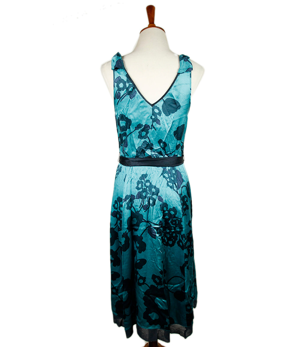 Marc Jacobs Blue Turqouise Silk Floral Dress 3
