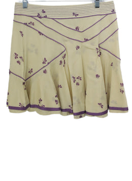 Marc Jacobs Beige Purple Floral Cotton Skirt 1