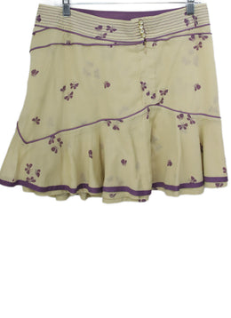 Marc Jacobs Beige Purple Floral Cotton Skirt 2