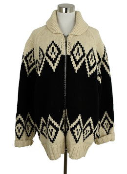 Marc Jacobs Black Beige Wool Knit Cardigan Sweater 1