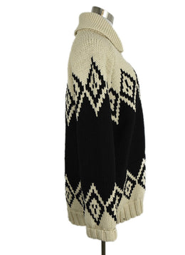 Marc Jacobs Black Beige Wool Knit Cardigan Sweater 2