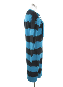 Marc Jacobs Black Teal Wool Stripes Dress 2