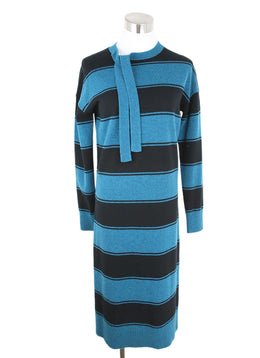 Marc Jacobs Black Teal Wool Stripes Dress 1