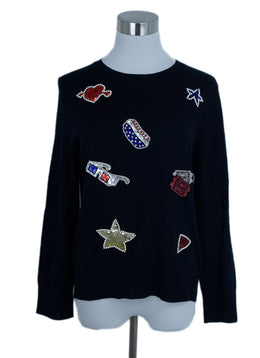 Marc Jacobs Black Wool Sequins Star Print Sweater 1