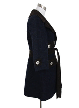 Marc Jacobs Navy Brown Lamb Wool Coat 2