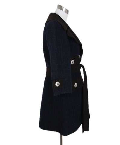 Marc Jacobs Navy Brown Lamb Wool Coat 1