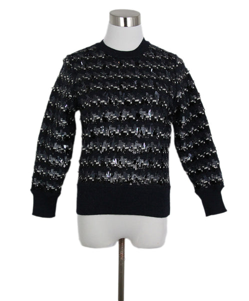 Marc Jacobs Grey Charcoal White Wool Sequins Sweater 1