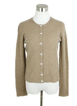 Marc Jacobs Neutral Cashmere Rhinestone Heart Buttons Sweater 1