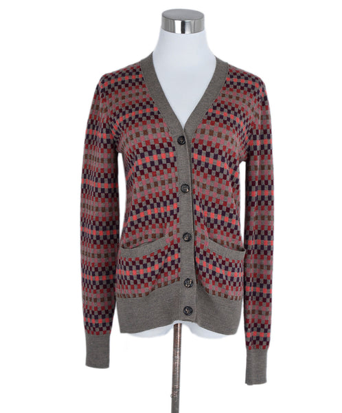 Marc Jacobs Red Purple Taupe Wool Cardigan Sweater 1