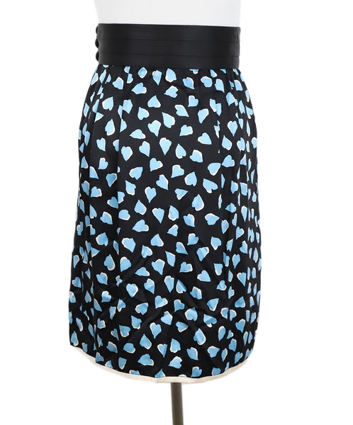 Marc Jacobs Black Blue Print Silk Skirt 3