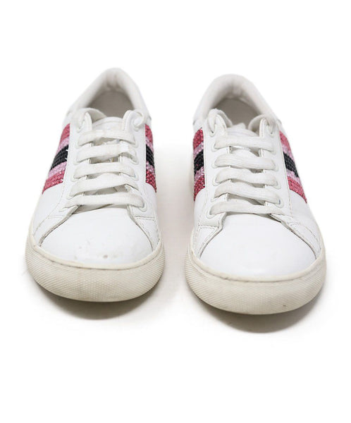 Sneakers Marc Jacobs Shoe White Leather Pink Rhinestone Shoes 2