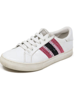 Sneakers Marc Jacobs Shoe White Leather Pink Rhinestone Shoes