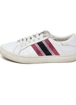 Sneakers Marc Jacobs Shoe White Leather Pink Rhinestone Shoes 1