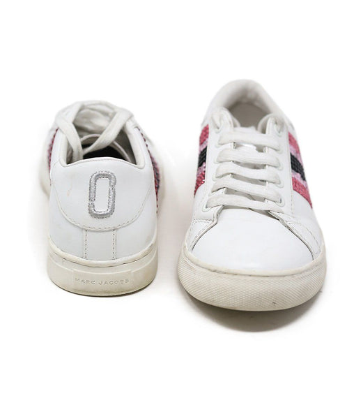 Sneakers Marc Jacobs Shoe White Leather Pink Rhinestone Shoes 3