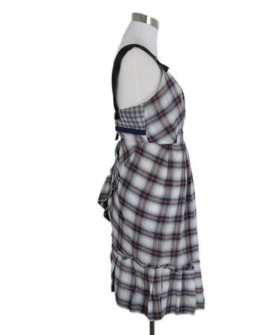 Marc jacobs blue black red plaid dress 1