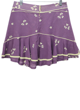 Marc Jacobs Purple Beige Floral Cotton Skirt 2