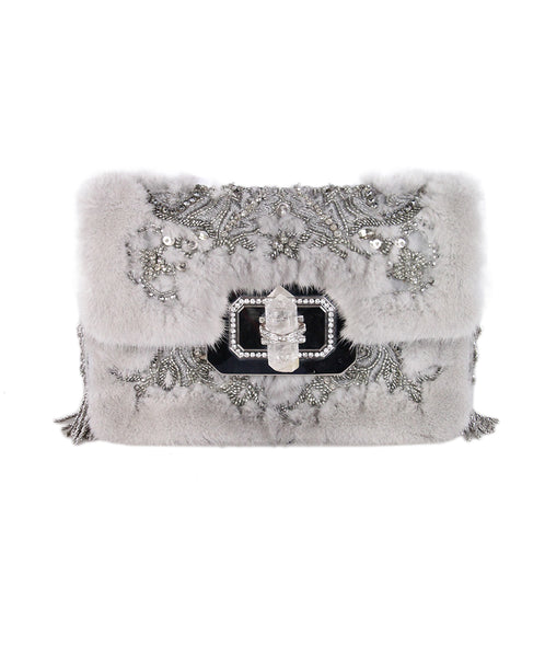 Marchesa Grey mink Suede Embellishment Bag 1