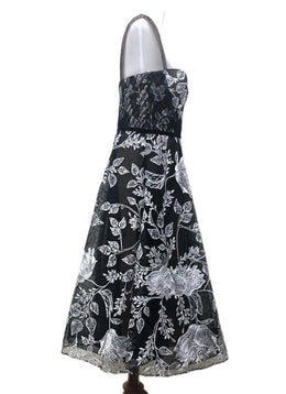 Marchesa Size 14 Black White Nylon Polyester Embroidery Sp 21 Storage Dress