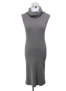 Margiela Green Olive Cotton Ribbed Turtleneck Dress