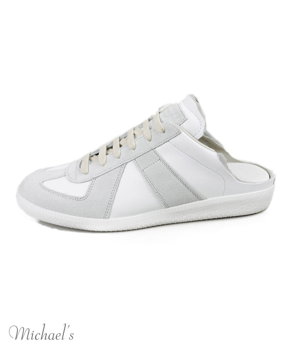 Margiela White Grey Leather Suede Shoes Sz 38.5