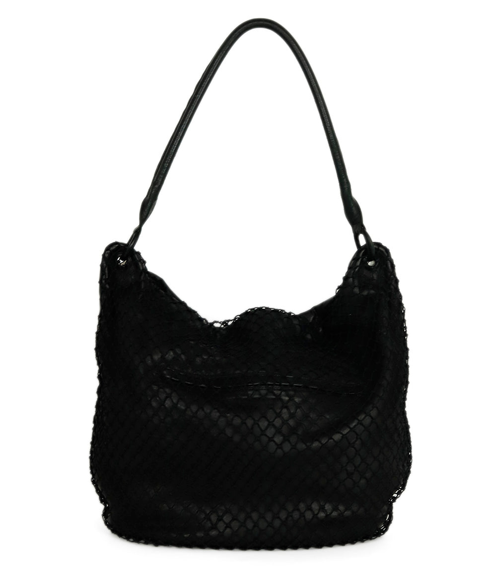 Margiela Black Leather Net Trim Front Shoulder Handbag 1