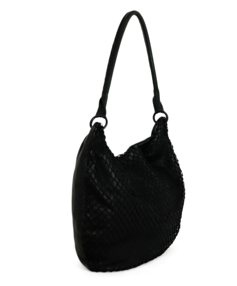 Margiela Black Leather Net Trim Front Shoulder Handbag 2