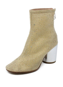 Margiela Beige Gold Glitter Nylon Booties 2