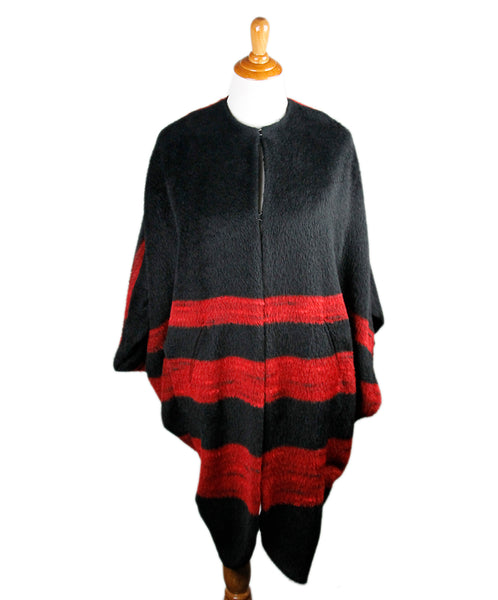 Maria + Cornejo Black Red Alpaca Wool Coat Sz 10