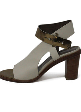 Maria + Cornejo Ivory Gold Leather Sandals 1