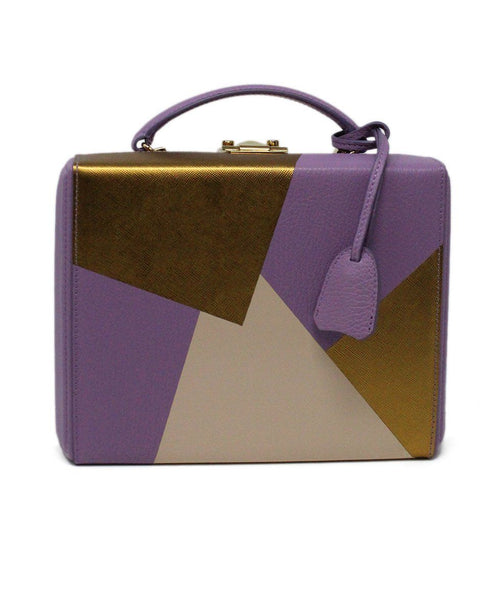Mark Cross Purple Leather Box Bag