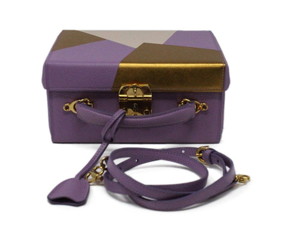 Mark Cross Purple Leather Box Bag 3