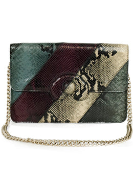 Mark Cross Green Purple Beige Snake Skin Handbag 1