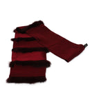 Mark Snider Burgundy Silk Scarf with Fur Trim Details 2