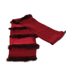 Mark Snider Burgundy Silk Scarf with Fur Trim Details 1
