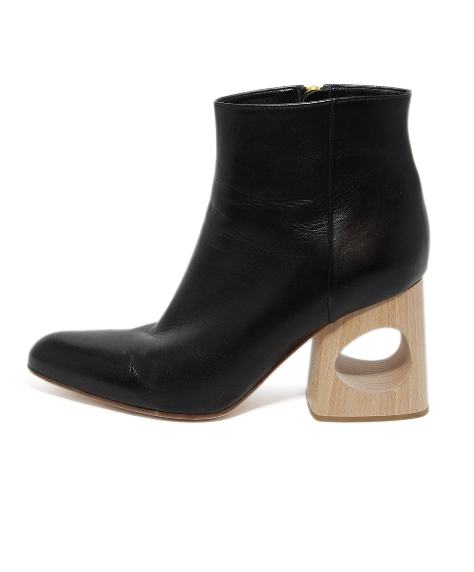 Marni Black Leather Wood Heel Boots 2