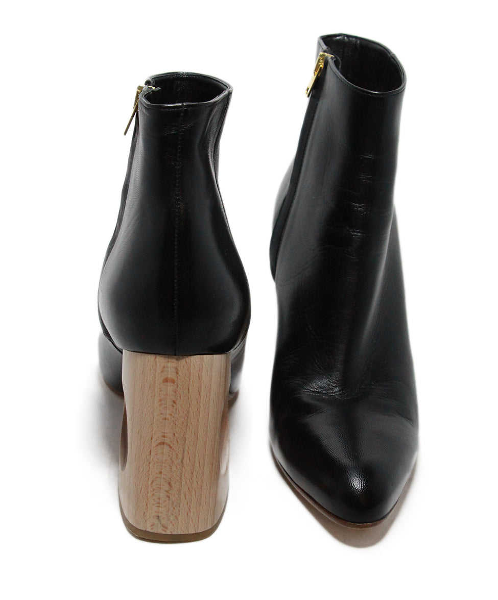 Marni Black Leather Wood Heel Boots 3