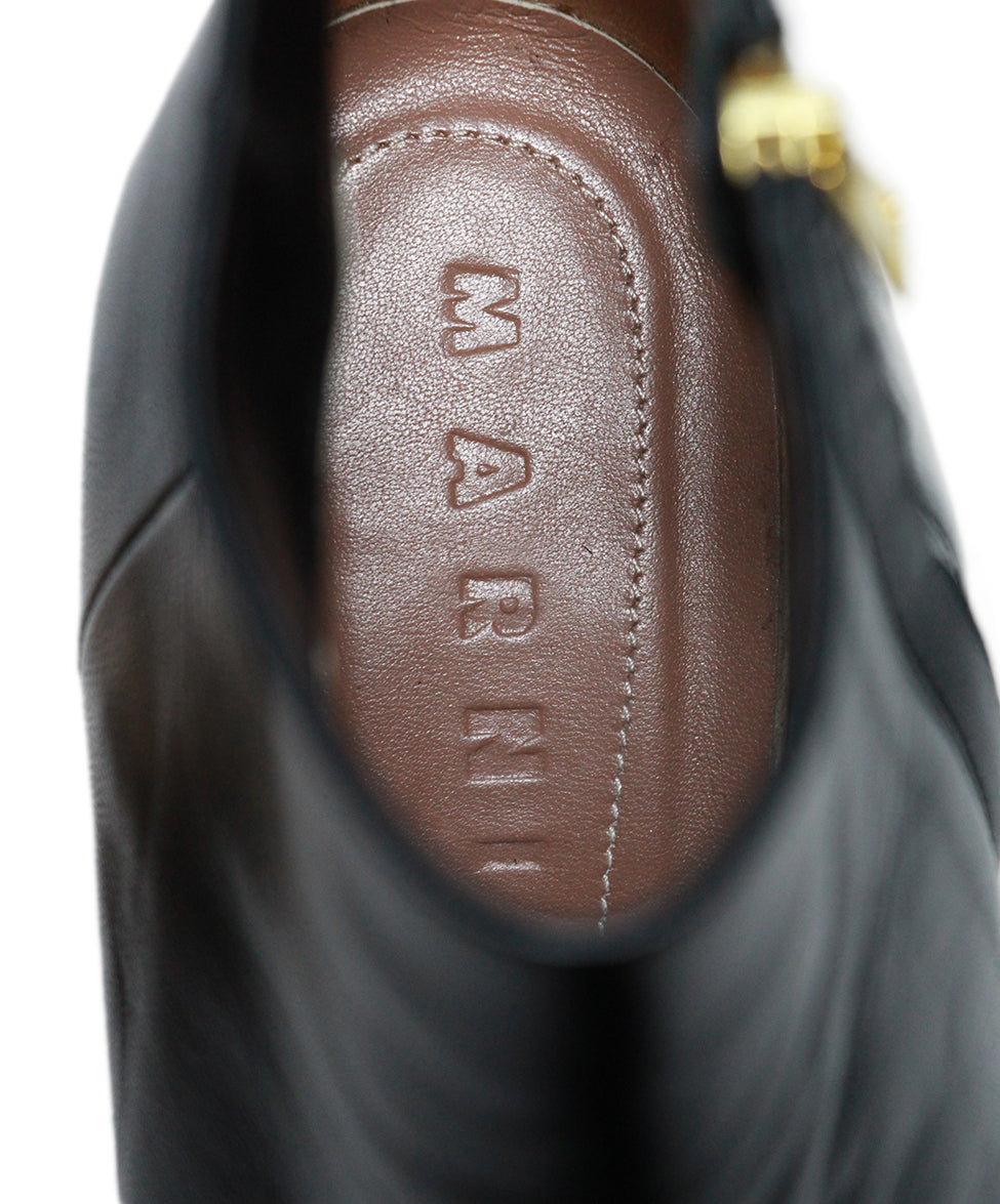 Marni Black Leather Wood Heel Boots 7