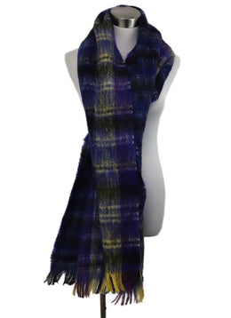 Shawl Marni Blue Purple Yellow Plaid Mohair Scarf 1