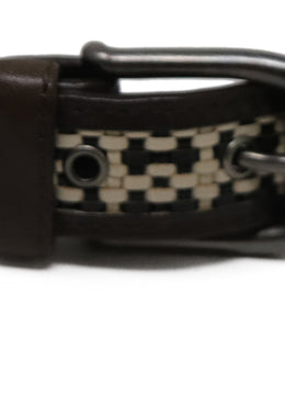 Marni Brown Yellow Leather Lucite Belt Sz M 2