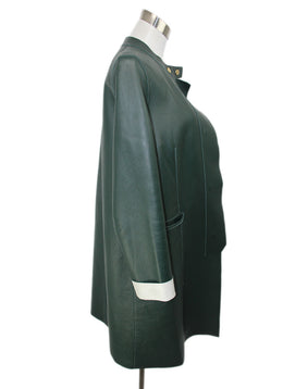 Coat Marni Green Cream Leather Outerwear 2