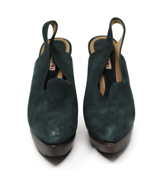 Heels Marni Shoe Green Brown Suede Wood Shoes 2