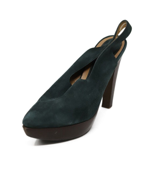 Heels Marni Shoe Green Brown Suede Wood Shoes
