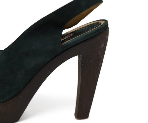 Heels Marni Shoe Green Brown Suede Wood Shoes 5