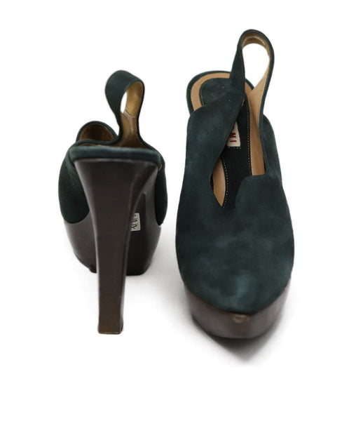 Heels Marni Shoe Green Brown Suede Wood Shoes 3
